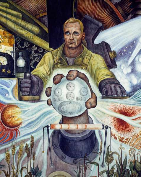 Man, Controller of the Universe, detail from Man at the crossroads, looking with hope and high vision to a new and better future, by Diego Rivera (1886-1957), fresco from the Palace of Fine Arts, Mexico City. Mexico, 20th century.