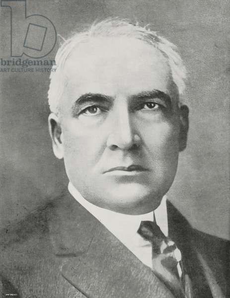 Portrait of Warren Gamaliel Harding (1865-1923), president of the United States, from L'Illustrazione Italiana, Year L, No 32, August 12, 1923