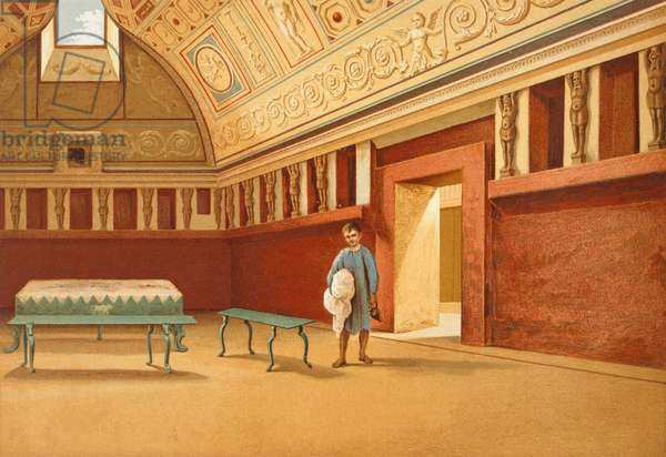 Reproduction of the Tepidarium of the bath complex near Porta Stabiana, from The Houses and Monuments of Pompeii, by Fausto and Felice Niccolini, Volume IV, Essays in Restoration, Plate VI, 1854-1896.