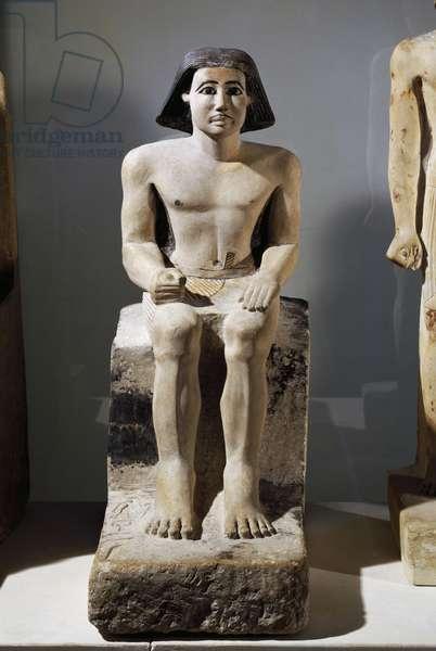 Majordomo Keki, front view, painted limestone statue, Egyptian civilization, Old Kingdom, Dynasty VI