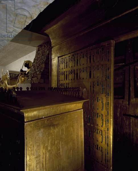 Gilded wooden catafalque and box of canopic jars, detail from reconstruction of Tomb of Tutankhamun as it was found by Carter, Pharaonic Village, Cairo, Egyptian civilization, New Kingdom, Dynasty XVIII