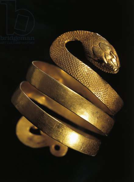 Roman civilization, goldsmith art, Gold bracelet the form of snake. From Pompeii