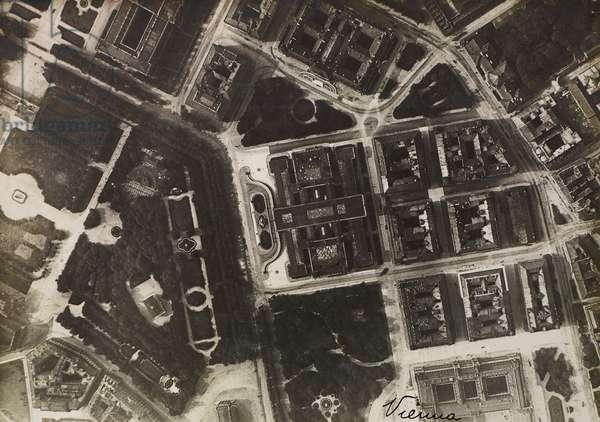 Flight to Vienna planned by Gabriele d'Annunzio, aerial view of city, August 9, 1918, World War I, Austria, 20th century