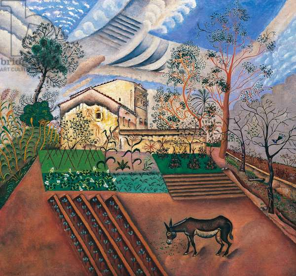 The vegetable garden with donkey, 1918, by Joan Miro, oil on canvas, 64x70 cm. Spain, 20th century.