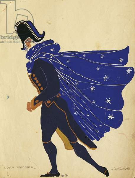 Gonzalve, costume sketch for The Spanish hour, by Maurice Ravel (1875-1937), 1907.