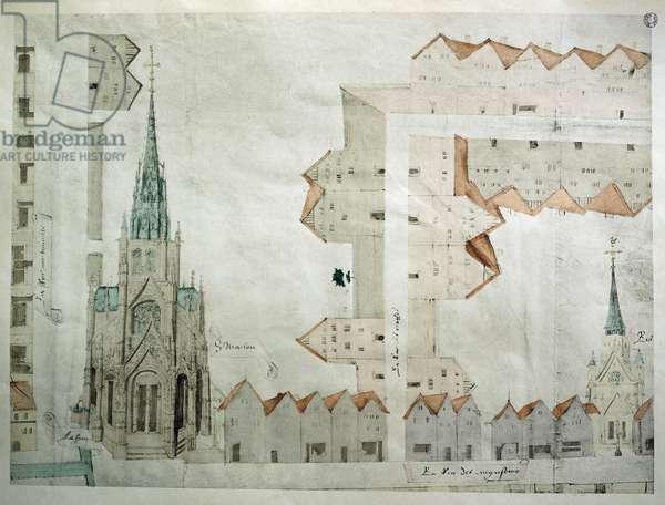 Church of Saint-Maclou in Rouen, 1525, illustration by Jacques le Lieur