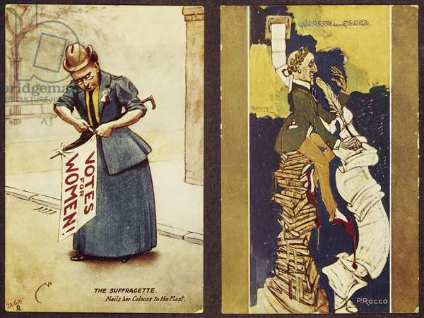 On left, satirical cartoon of English suffragette, On right, caricature of Gabriele D'Annunzio, 20th century