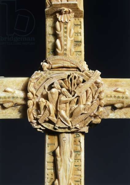Moses and Brazen Serpent, decorative detail from The Cloisters Cross, walrus ivory, 57x 36 cm
