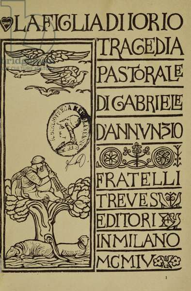 Daughter of Jorio, pastoral tragedy by Gabriele d'Annunzio (1863-1938), title page, engraving from drawing by Adolfo de Carolis (1874-1928), Fratelli Treves Publishing, Milan, 1904