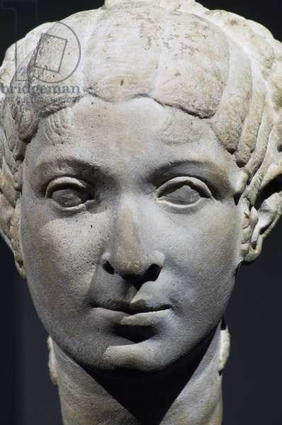 Woman's head in travertine, Possibly Cleopatra VII, Roman Civilization, 50-40 BC