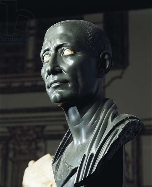 Green schist bust of Julius Caesar with marble eyes, Roman civilization, Hellenistic art, 1-50 a.d.