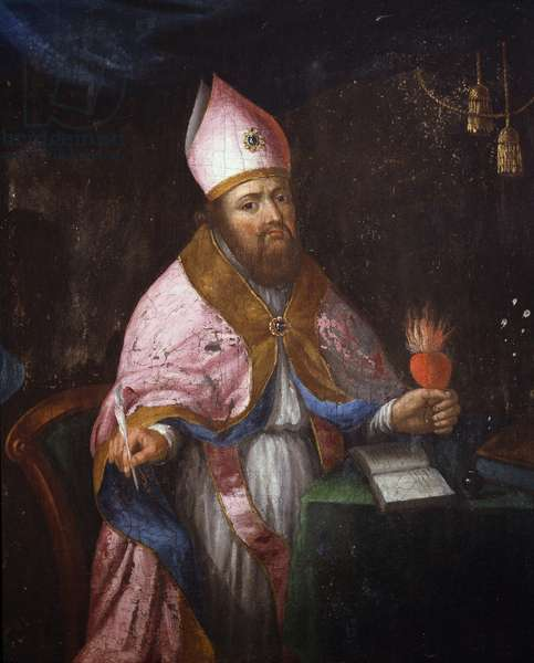 Representation of Saint Francis de Sales (1567-1622) about to write
