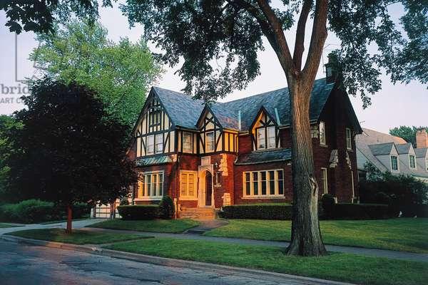 Villa designed by Frank Lloyd Wright (1867-1959) in Oak Park, Illinois, USA