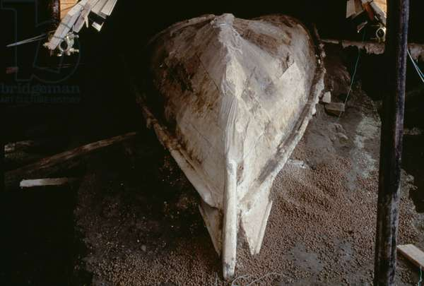 Boat uncovered during recent excavations, Herculaneum (UNESCO World Heritage List, 1997), Campania, Italy. Roman civilization