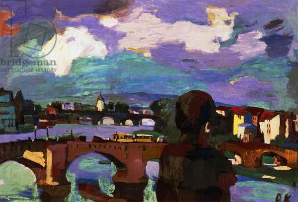 Dresden, bridges over the Elbe river, 1923, by Oscar Kokoschka (1886-1980), oil on canvas. Austria, 20th century.