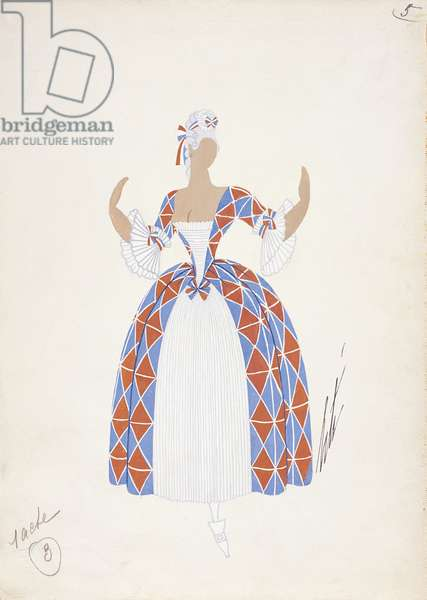 France, Paris, costume sketch for Despina from 'Cosi Fan Tutte', Paris Opera Comique, March 21, 1952 (w/c on paper)