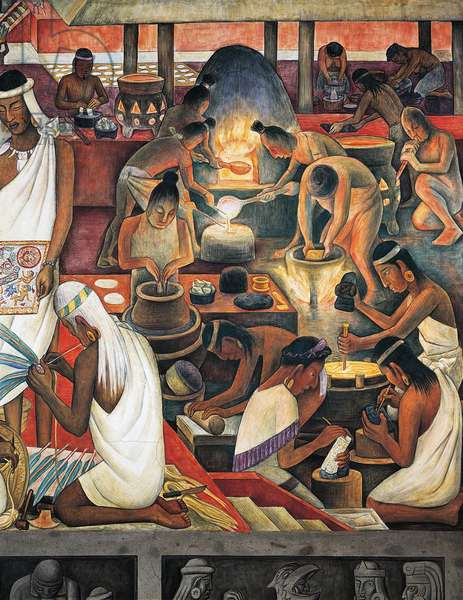 Smelting gold, Zapotec civilisation, 1942, by Diego Rivera (1886-1957), detail from the National Palace frescoes, Mexico City. Mexico, 20th century.