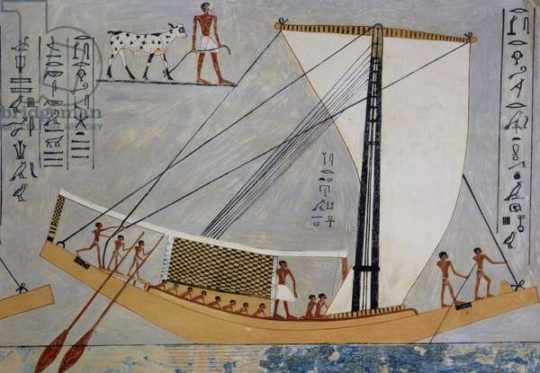 Sailboat and oars, copy of fresco from Tomb of Kaemronkh VI, Giza, 4th Dynasty, plate from Ancient Egyptian Paintings, by Nina Davies, 1936, Chicago, 20th century