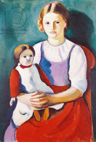 Blonde girl and doll, 1910, painting by August Macke (1887-1914), 55x77 cm