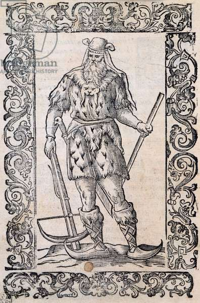 Man with fur dress, crossbow and shoes with twisted tip (example of rudimentary skis), illustration attributed to Cesare Vecellio (1521-1601), published in Italy in 16th century