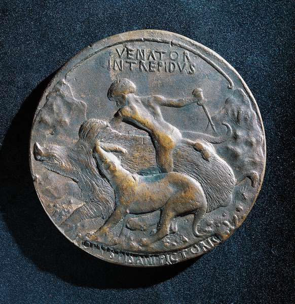Bronze medal of Alfonso V of Aragon (1394-1458), 1449, reverse depicting a naked hunter attacking a boar, 10,6 cm, Italy, 15th century