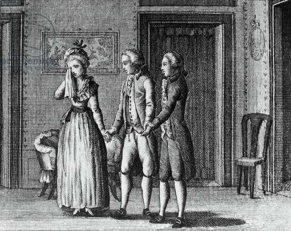 Illustration for The beneficent bear, comedy by Carlo Goldoni (1707-1793), engraving, from Opere teatrali del sig avvocato Carlo Goldoni veneziano, published by Antonio Zatta e figli, 1789, Venice