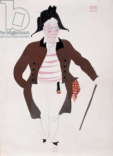 Costume for character of Bartolo from The Barber of Seville by Gioacchino Rossini, sketch by Charles Martin (1884-1934), 1933, Paris Opera theatre, 20th century
