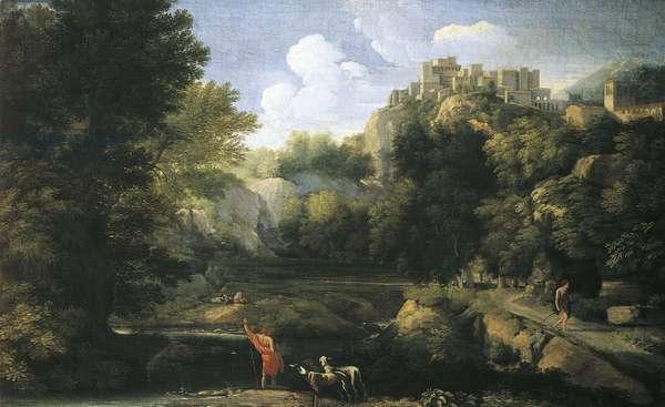 River landscape showing shepherd, 1667-1668, by Gaspard Dughet (1615-1675)