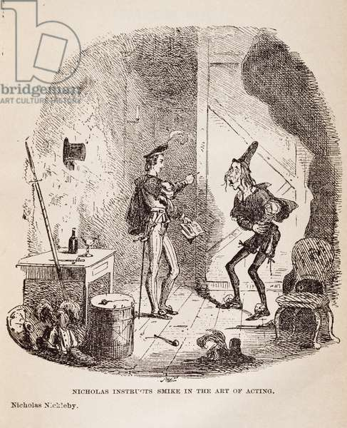 Nicholas instructs Smike in art of acting, scene from Nicholas Nickleby by Charles Dickens, by Hablot Knight Browne, 1839
