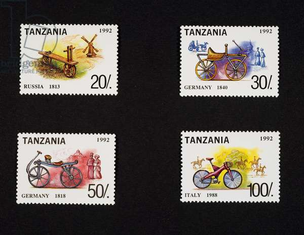 Postage stamp honoring Bicycle, 1992, depicting German velocipede (1818) and Italian Bike (1988), Tanzania, 20th century