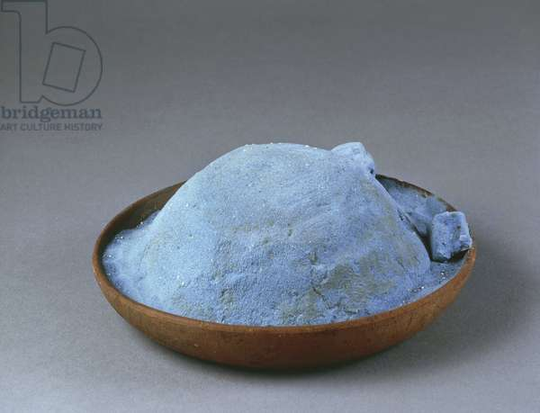 Clay bowl containing blue powder used for frescos, from Pompei