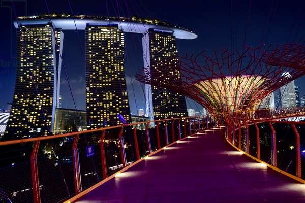 Marina Bay Sands Hotel, 2010, designed by architect Moshe Safdie (1938-), seen from boardwalks of Supertree Grove, 2012, at night, Singapore