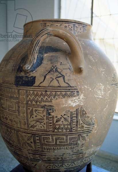Argive jar depicting figures of Odysseus and Ajax, Greek civilization, 8th century BC, detail