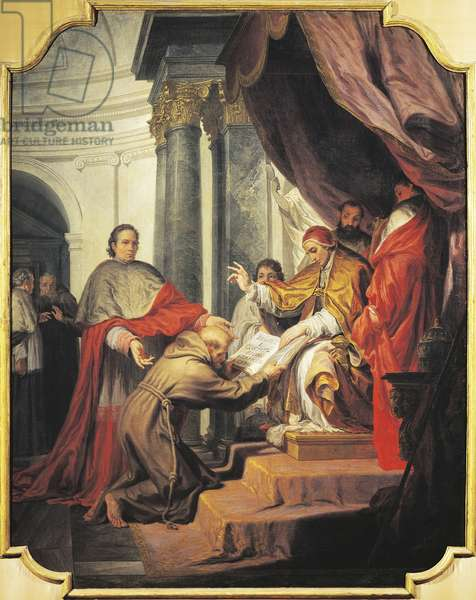 St Francis of Assisi presents Rule to Pope Innocent IV, by Nicholas Ricciolini (1687-1772)