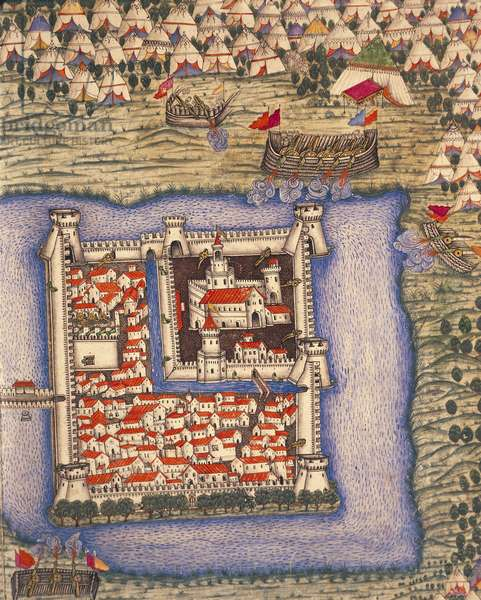 Close-up of an Ottoman miniature depicting the Szigetvar fortress, Manuscript, Turkey 14th century, history of the campaign of Suleiman the Magnificent in Hungary