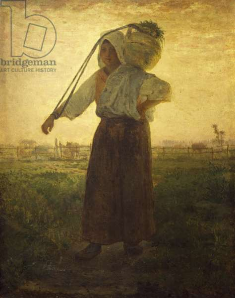 Norman milkmaid in Greville, 1874, by Jean-Francois Millet (1814-1875), oil on canvas, 73x57 cm.