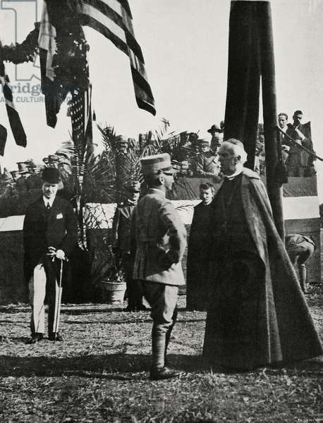 King of Italy Vittorio Emanuele III and Bartolomeo Bacilieri, bishop of Verona, during parade of American troops, Italy, World War I, from l'Illustrazione Italiana, Year XLV, No 32, August 11, 1918