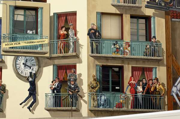Trompe-l'oeil on world cinema building, Cannes, Provence-Alpes-Cote D'azur, France