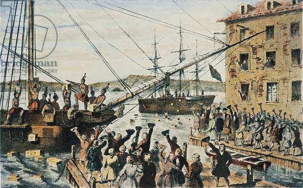 Boston Tea Party, English tea chests thrown overboard in Boston Harbor by colonists, December 16, 1773, United States, 18th century