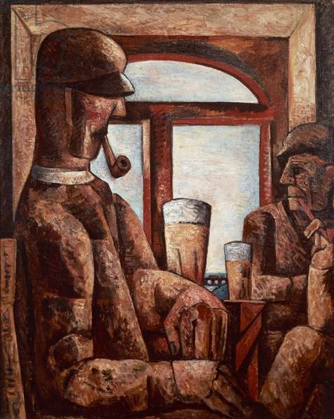 Beer drinkers, 1924, by Marcel Gromaire (1892-1971). France, 20th century.