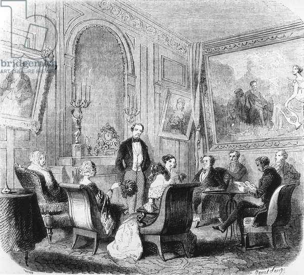 Reading Memoirs from Beyond Grave by Rene de Chateaubriand in Madame de Recamier's salon in Abbaye-aux-Bois in Paris, France, Engraving, 1849
