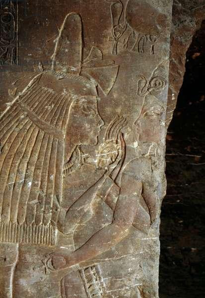 Tutankhamun with his wet nurse Maia, relief from the tomb of Maia, Saqqara, Egypt, Egyptian Civilization, New Kingdom, Dynasty XVIII, Detail