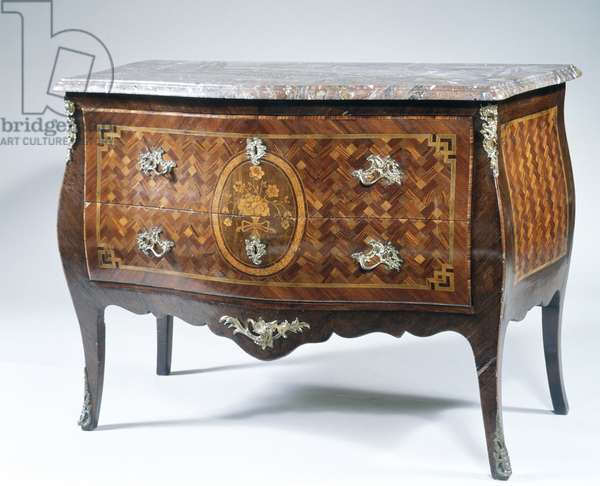 Louis XV style chest of drawers with inlays, France, 18th century