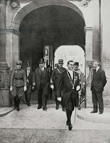 Leader of Austrian delegation Karl Renner exits from Castle of St Germain after signature of Treaty of Saint-Germain-en-Laye that establishes distribution of dissolved Austro-Hungarian Empire and conditions for creation of Austrian Republic