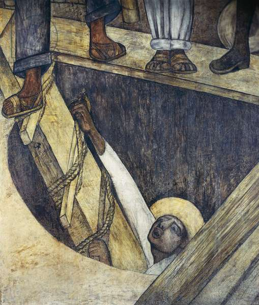 Exiting the mine, by Diego Rivera (1886-1957), detail from the Ministry of Education frescoes (1923-1928), Mexico City. Mexico, 20th century.
