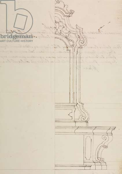 Design for altar dedicated to Blessed Virgin Mary, parish church of Nova, parish of Desio, September 10, 1761, Cardinal Giuseppe Pozzobonelli, elevation drawing, Italy, 18th century