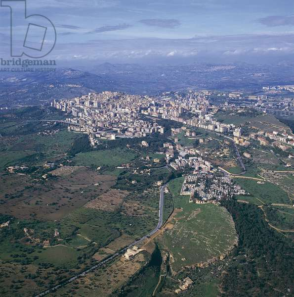 Aerial view of buildings in a city, Agrigento, Sicily, Italy (photo)
