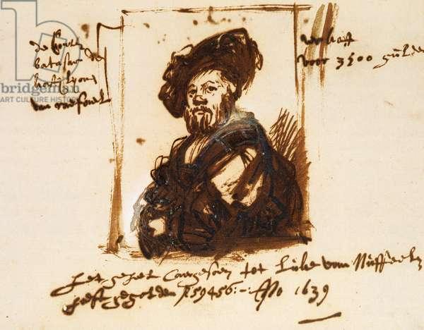 Baldassarre Castiglione, sketch from the portrait, 1639