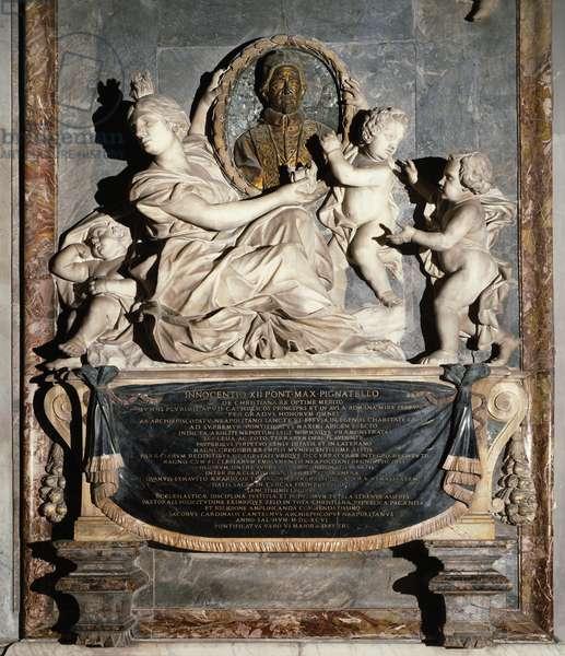 Mausoleum of Pope Innocent XII, by Domenico Guidi (1625-1701), Cathedral of Santa Maria Assunta, Naples, Campania, Italy, 17th century