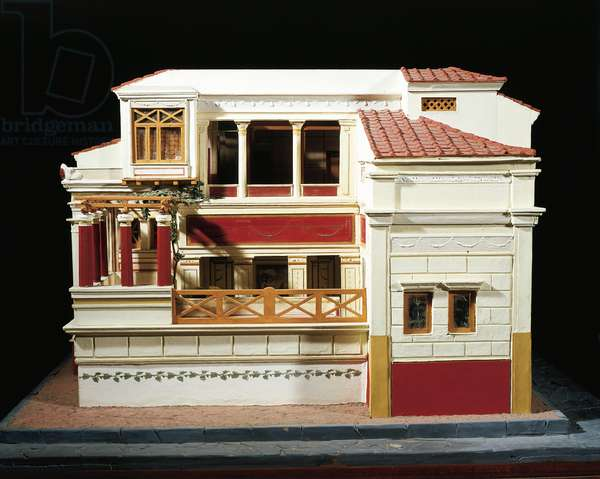 Italy, Pompeii, Lateral loggia in Scale model of the House of the Tragic Poet at Pompeii By Enrico Scalfi (1857-1935)